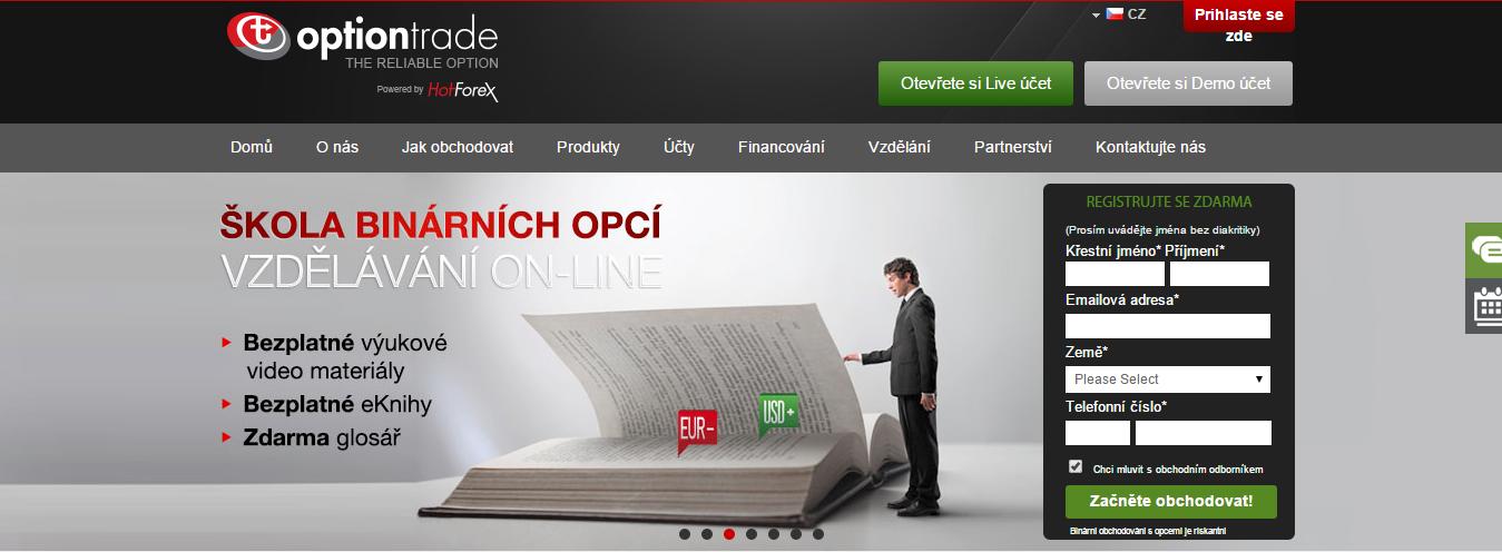 OptionTrade - webová stránka