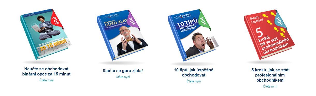 Dostupné ebooky pro majitele demo verzí účtů u brokera TopOption