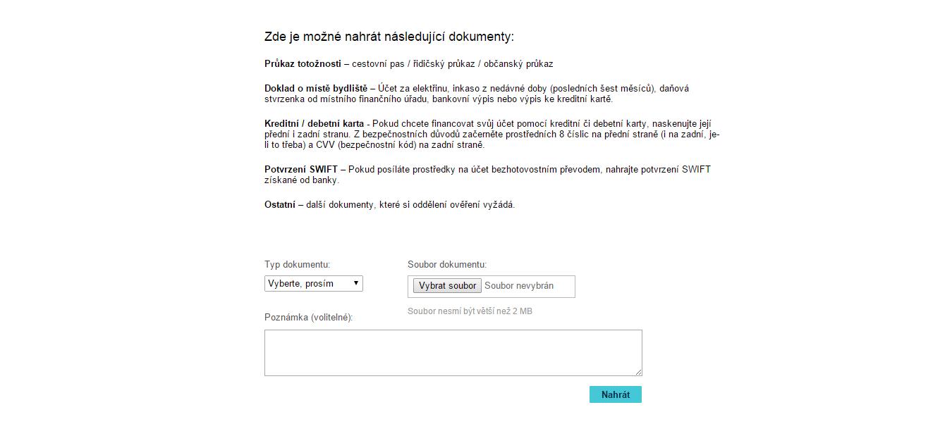 Formulář na webu TopOption pro ověření identity obchodníka