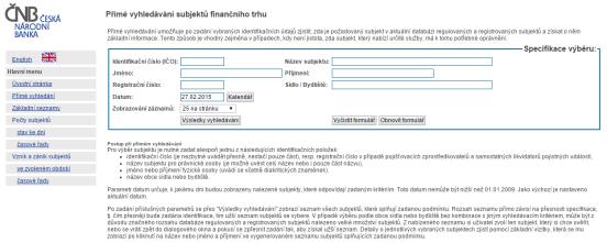 Formulář pro ověření licence brokera na binární opce u ČNB
