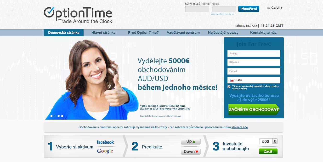 Úvodní strana webu OptionTime