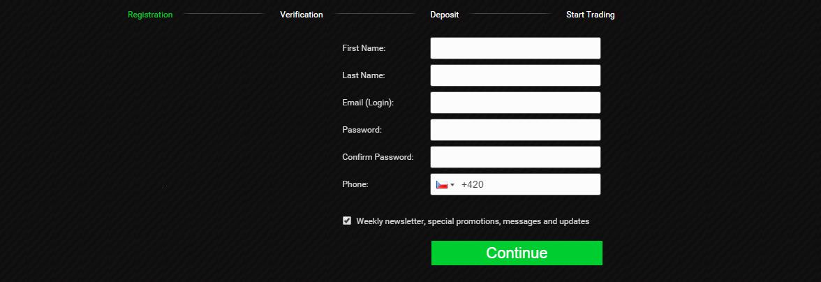 První krok registrace (založení účtu)