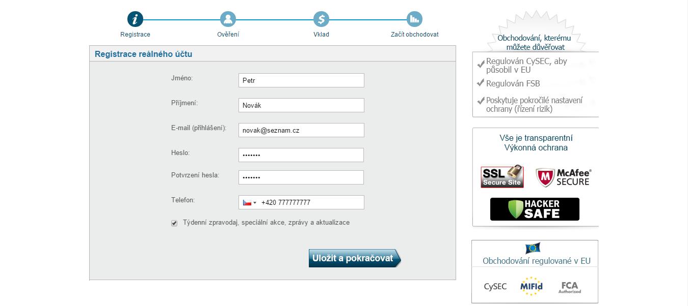 Registrační formulář - otevření účtu u TopOption