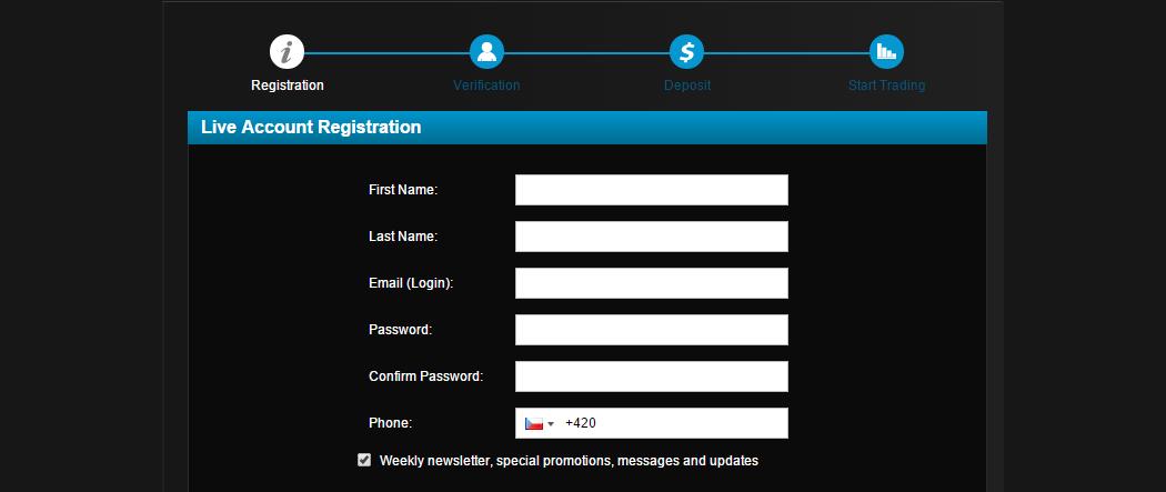 Registrační stránka na webu brokera
