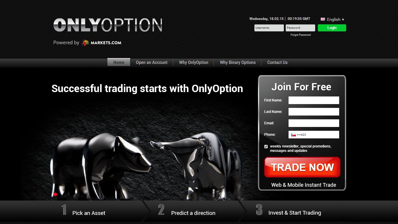 Web brokera OnlyOption (recenze, repro)