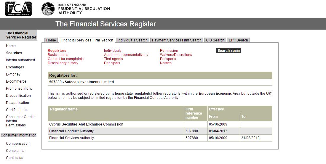 Licence brokera TopOption u úřadu FCA