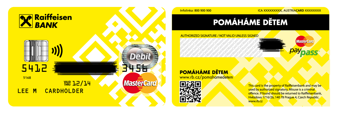 Začernění údajů na kopii (scan/foto) platební karty