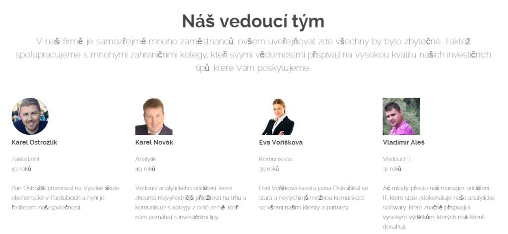 Tým vedoucích pracovníků projektu Nezadluzujmese.cz