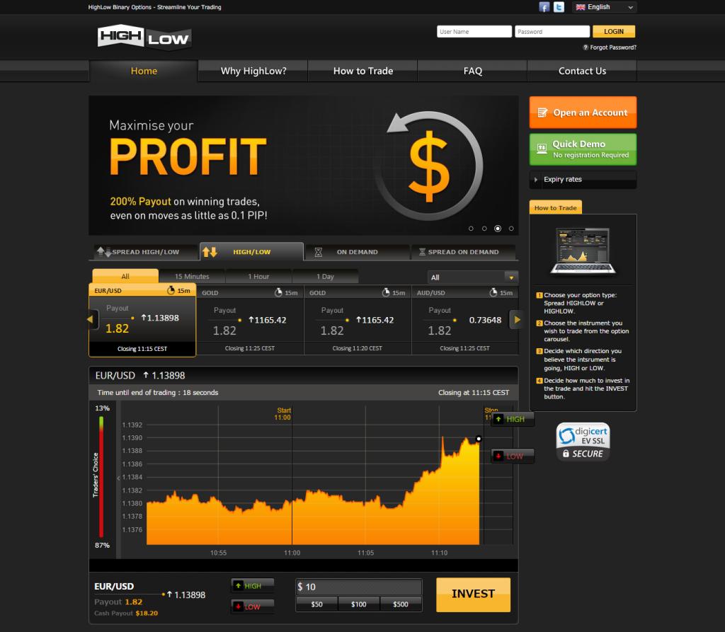Webová stránka brokera HighLow