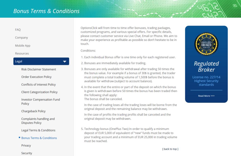 Bonus u OptionsClick - kompletní znění obchodních podmínek