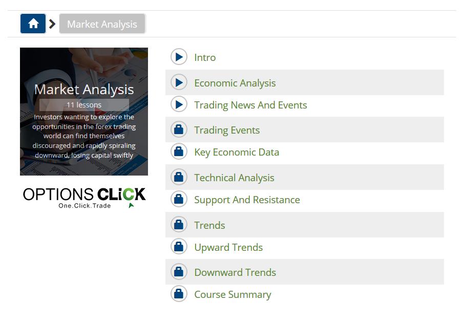 Vzdělávací materiály z nabídky brokera optionsClick