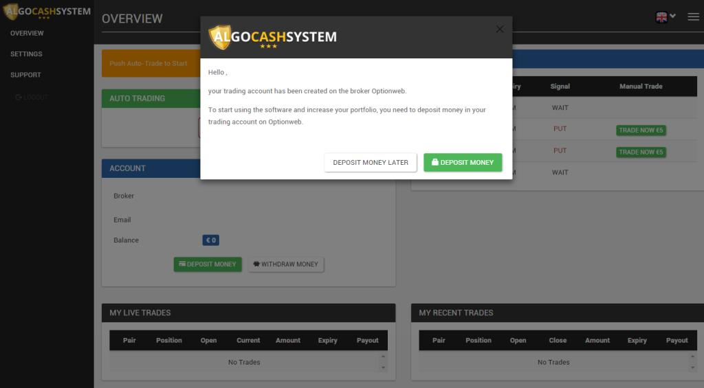 Nutnost vkladu je první informací v AlgoCashSystem.com