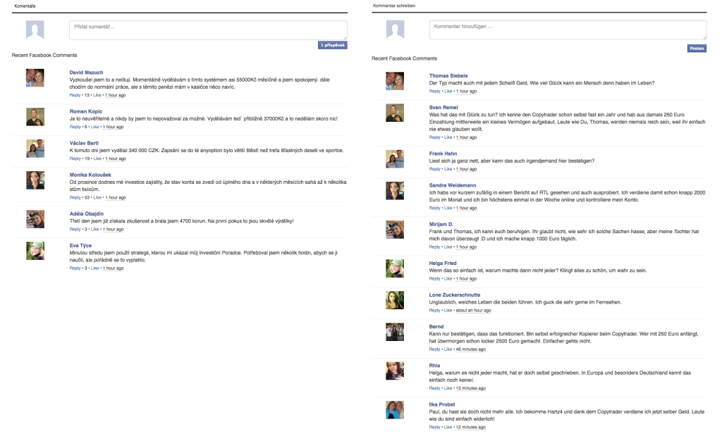 Falešné komentáře na české a německé verzi webu StarNews5.com