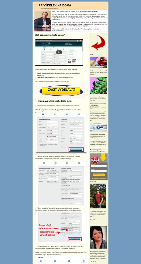 Webová stránka Přivýdělek Na Doma (privydelekdoma.com)