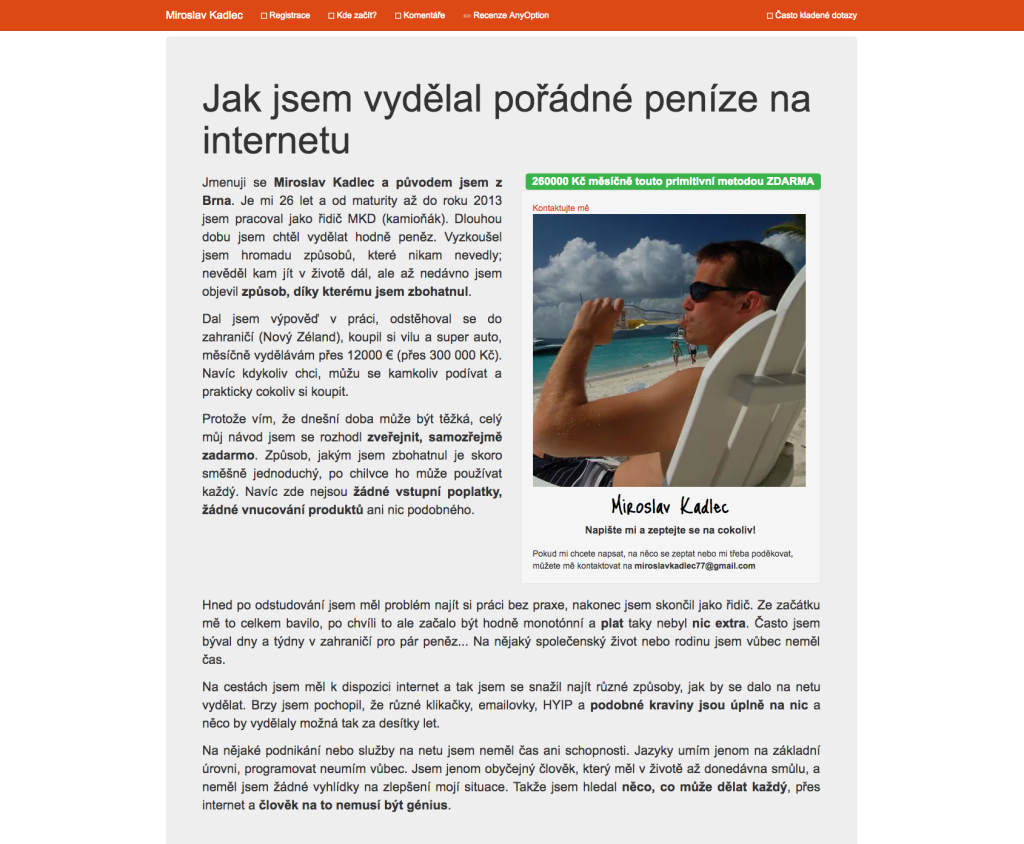 Miroslav Kadlec a jeho web MiroslavKadlec.com