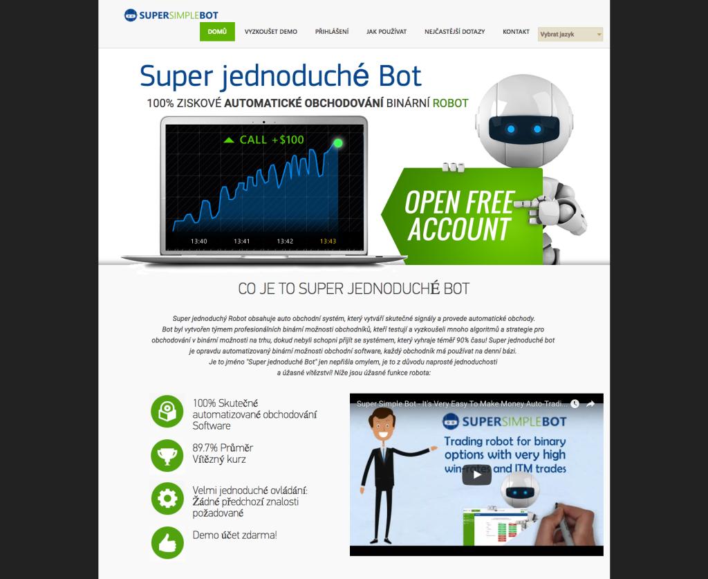 Propagační stránka projektu Super Simple Bot