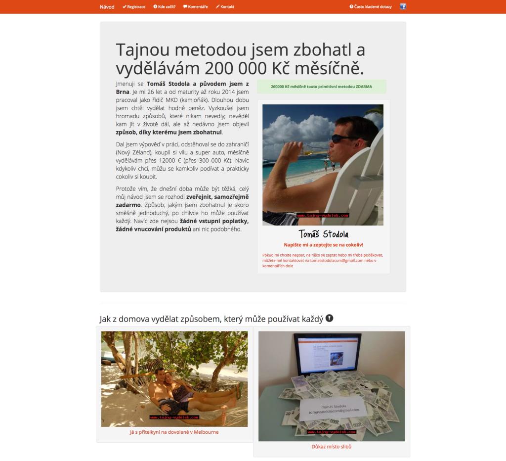 Recenze - webová stránka autora strategie (Tomáš Stodola)