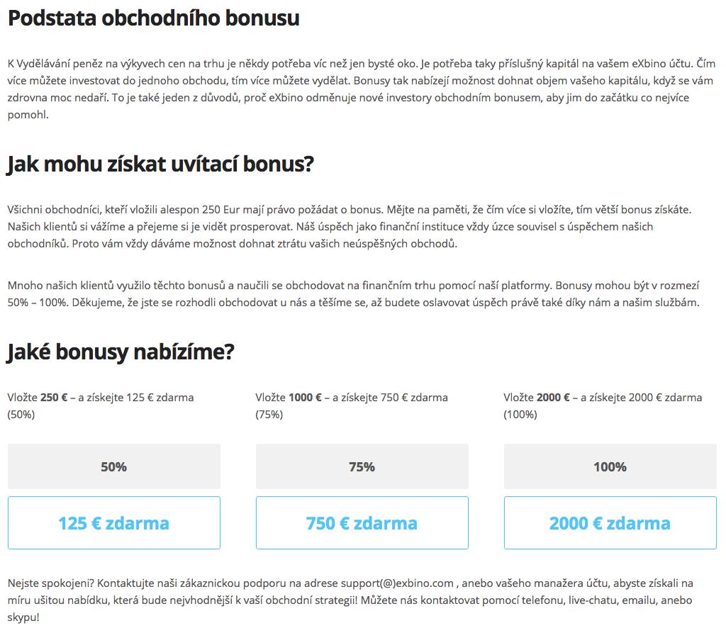 Bonusy u eXbino