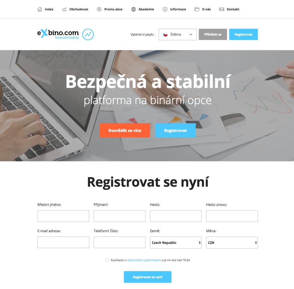 Domovská stránka binárního brokera eXbino.com