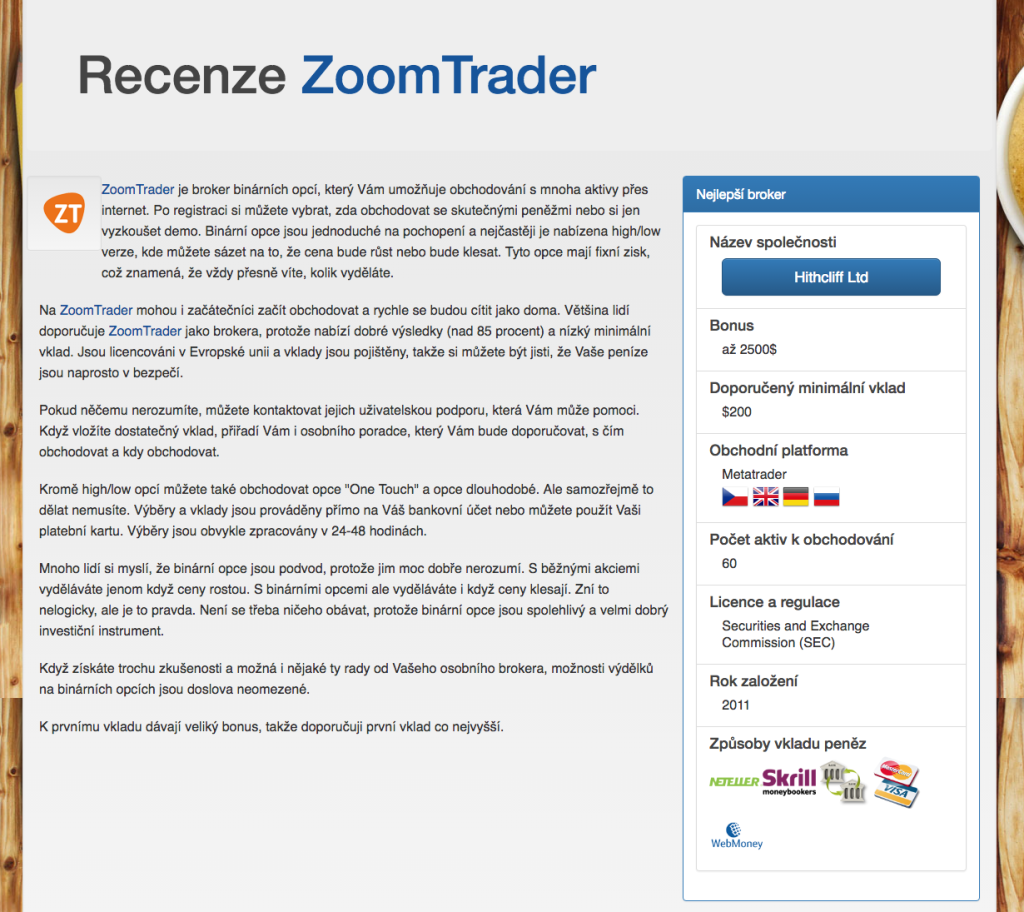 Na webu je doporučován podvodný broker Zoomtrader