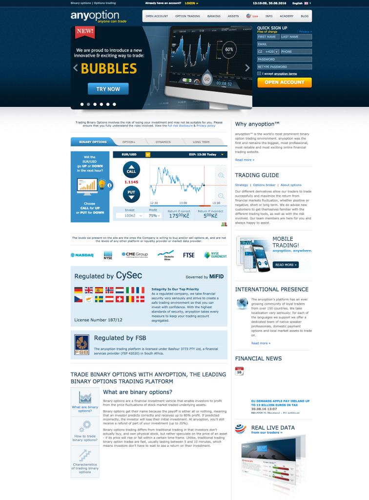 Webová stránka brokera AnyOption