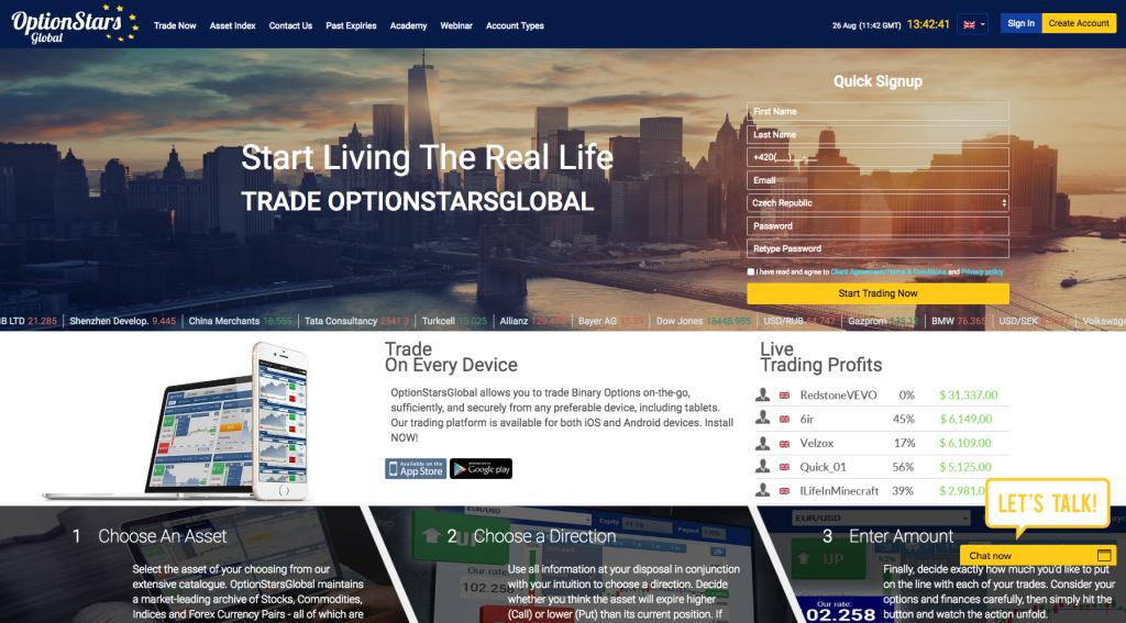 Webová stránka www.optionstarsglobal.com