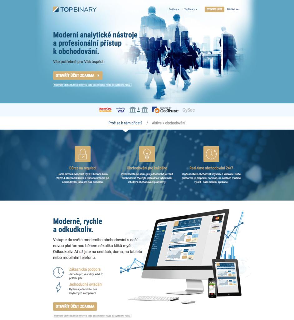 Webová stránka společnosti TopBinary