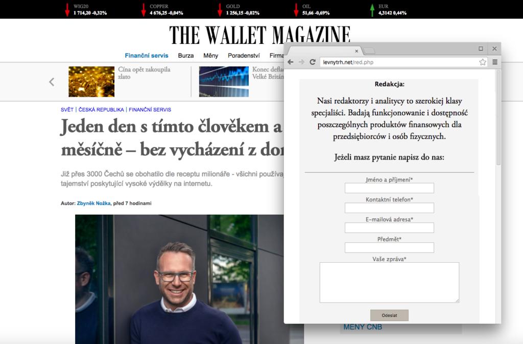Za podvodným webem stojí zřejmě poláci