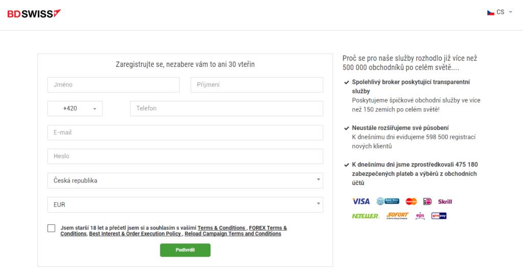 Registrační formulář na webu BD Swiss