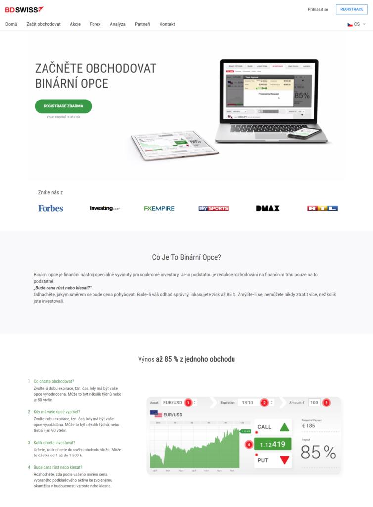 Webová stránka společnosti bdswiss.com